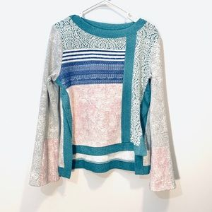 Anthropologie Postal Patchwork Metallic Sweater